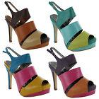 New Ladies Peep Toe Slingback Platform Sandals Womens Shoes Sizes UK 3 4 5 6 7 8