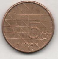Moneta Olanda Holland Nederland 5 Gulden 1989 BRONZE CLAD NICKEL OLD97