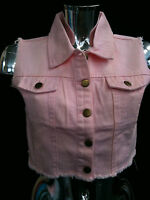 Womens Ladies Chickster PINK Cropped Denim Waistcoat/Gillet (Sizes 8-14)PINK