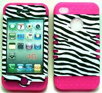 White Blk Zebra Pink Skin Apple iPhone 4 4S Hybrid 2 in 1 Hard Cover Rubber Case