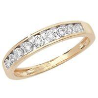 9ct Yellow Gold 10pt Diamond 9 Stone Illusion Set Eternity Ring *RD537