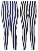 LADIES VERTICAL STRIPE PRINT ELASTICATED WAIST WOMENS PATTERNED LONG LEGGINGS