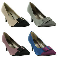 New Ladies Low Kitten Heel Pointed Toe Evening Court Shoes Size UK 3 4 5 6 7 8