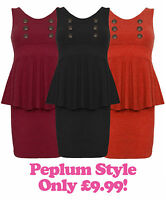 Womens Winter Peplum Dress Button Black Wine Rust Ladies New Dress UK 8 10 12 14