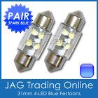 2 x 31mm BLUE 4-LED FESTOON INTERIOR LIGHT GLOBES/BULBS - Car/Truck/4x4/Caravan