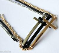 Silver Gold-tone Black Metal Simple Charm Cross Chain Cuff Bracelet Gothic New