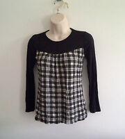 NEW C&A GIRLS WHITE BLACK CHECK LONG SLEEVE TOP TEE TUNIC AGE 7,8,9,10,