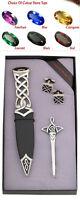 Tolles Geschenk: Kilt Pin Manschettenknöpfe & Sgian Dubh Tay Keltisch Set