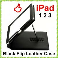 BLACK FLIP LEATHER CASE COVER POUCH WITH STNAD For iPad IPAD 2 IPAD 3