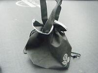 SMALL CLOTH BLACK DRAW STRING ECO SHOPPING BAG LADIES HANDBAG 23cmx20cmx10cm UK