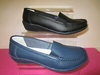 "F3092-Ladies Slip On Shoes ""Eaze"" Black or Navy Leather Sizes 3-8 moccasin style"