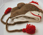 deLux brand cap SOCK MONKEY HAT Knit ADULT trench coat brown FLEECE LND animal