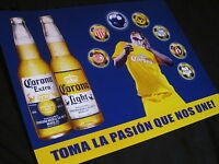 Corona Soccer Necaxa Santos Tin Beer Sign bar mexico cerveza Extra Light mls pub