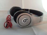 Used Original Monster Beats by Dr Dre STUDIO Earphones Headphones SILVER Genuine