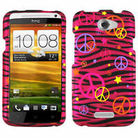 Peace Signs Pink Zebra Print Protector Case For AT&T HTC One X Cover Faceplate