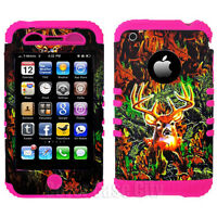 Pink Mossy Deer Camo Impact Hybrid Hard Cover Case for Apple iPhone 3 3S 3GS
