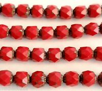 25 6mm Czech Glass Firepolish Renaissance Style Beads: Opaque Red - Picasso