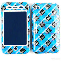 Blue Black Plaid Blocks Kick Stand Hybrid Cover Case For Apple iPhone 3 3G 3GS