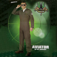Mens Aviator Top Gun Style Fighter Pilot Jumpsuit Fancy Dress Stag Party Costume