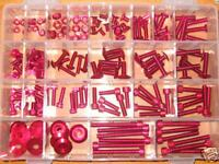 Universal 150 Piece Screw Set - Red Anodised Aluminium Bolts Nuts and Washers