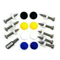 "17 PCE NUMBER PLATE FIXING KIT - 1"" SELF TAPPERS , DOME SCREW CAPS & DRIVER BIT"