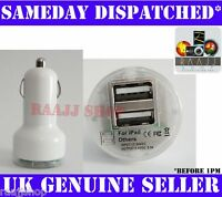 WHITE DUAL USB IN CAR CHARGER FOR IPHONE 3G 3GS 4 4S 5 5S 5C IPAD AIR MINI IPOD