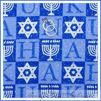 BonEful Fabric FQ Cotton Quilt Block Hanukkah Blue Silver Candle Glitter Jewish