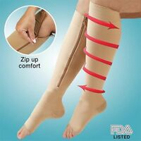 Zippered Compression Knee Socks Supports Stockings Leg Open Toe 23-32mmHg Zipper