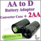 2 AA + 2 x AA to D battery Adaptor Converter Case 2A 3A