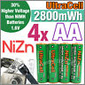 4 2800mWh AA NiZn 1.6V Volt Rechargeable Battery 2A AM3 UM3 KR6 Ultracell Green
