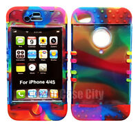 Rainbow Silicone Skin Cover Hard Transparent Case Hybrid For Apple iPhone 4 4S