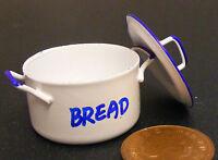 1:12 Scale White Enamel Metal Bread Bin Dolls House Miniature Kitchen Accessory