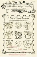 A Tale of Veggie Romance Hot Iron Transfers by MaMaw's Vintage Embroidery