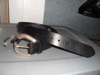NOS Harley Davidson Womens Rhinestone Buckle Black Leather Belt 97687-12VW