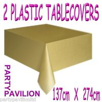 2 Gold Plastic Rectangular Table Cloths Covers - 50th Golden Wedding Anniversary