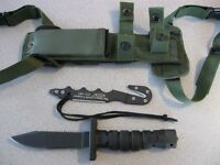 NEW Ontario 1400 ASEK Black Survival Knife & OD Sheath & Strap Cutter USA MADE