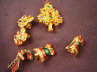 ASSORTED CHRISTMAS PINS EARINGS