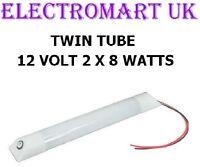 12V VOLT DOUBLE TWIN TUBE FLUORESCENT STRIP LIGHT LAMP FITTING