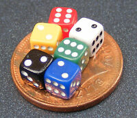 1:12th Scale Set Of 6 Coloured Dice Dolls House Miniature Nursery Toy Game