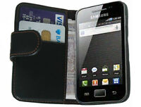 Black Wallet Leather Flip Case for Samsung S5830 Galaxy Ace Cover Holster Pouch