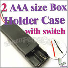 1 x 2 AAA Battery 3V Clip Storage Case Box Holder Wire Leads w/ ON/OFF Switch