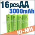 16 pcs AA 2A LR6 3000mAh 1.2V Ni-MH rechargeable battery Cell For Toy/RC Green