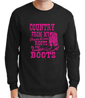 Cowgirl Boots Men's Long Sleeve T-shirt Country Western Cowboy  - 1378C