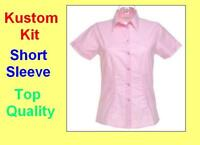 Kustom Kit Ladies New PINK Oxford Short Sleeve Shirt /Blouse/Top, Office/Casual