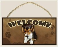 """The Guilty Dog"" Beagle (sitting) 10"" x 5"" Wooden Welcome Sign art by S. Rogers"