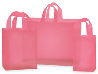"""""""PINK"""" frosted shopping bags (100 ASSORTMENT)"""