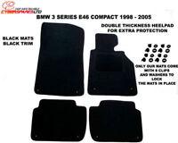 BMW 3 e46 compact 01-06 black tailored car mats +8clips