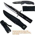 Survival Kit 2 Knives & Flashlight Police Knife Theme