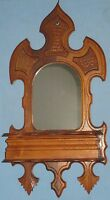 ANTIQUE HAND CHIP CARVED WALNUT WALL HUNG SHAVING MIRROR w/HINGED LID BOX 1860