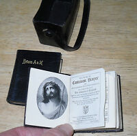 ANTIQUE MINIATURE LEATHER BOOK OF COMMON PRAYER & BOOK OF HYMNS C. 1900